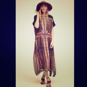 Free People Printed Drawstring Kaftan Maxi Dress